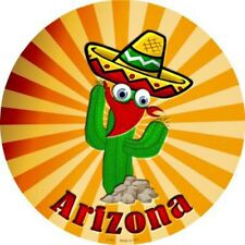 "AZ Arizona Cactus 12"" Round Metal Sign Novelty Decorative Home Wall Decor"
