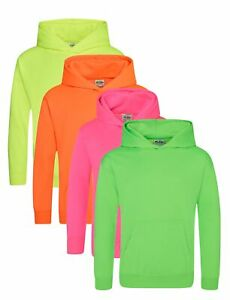 Childrens Kids BRIGHT ELECTRIC YELLOW ORANGE GREEN PINK Hoodie Hooded Sweatshirt
