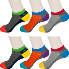 """6 Pairs Mens Colorful Low-cut Socks MK6GS """"Skin contact surface is 100% cotton"""""""