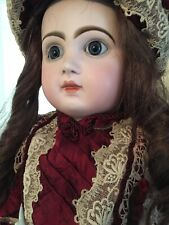 """Antique French Tete Jumeau Bebe Bisque Doll CM& Paperweight Blue Inset Eyes, 27"""""""