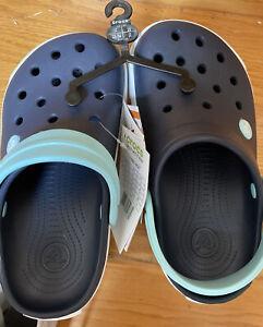 New Crocs Crocband II Slip On Clogs Kids J2 Navy/Ice Blue