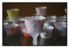 "12 girls christening ""HOLLYCROSS PINK"" Cupcake Wrappers-WORLDWIDE FREE SHIPPING"
