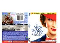 MARY POPPINS RETURNS 4K UHD disc (2019) + Artwork case only/No 2D bluray,digital