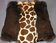 "J.E.M.  Creations Rabbit Pillow Genuine Fur cushion Cover  New York USA 15 X 15"""