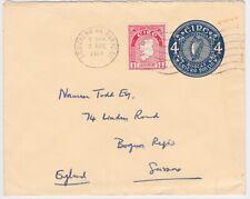 1964 EIRE 4p POSTAL STATIONERY ENV+1p->SUSSEX GB