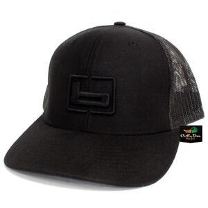 "NEW BANDED TRUCKER CAP MESH BACK HAT BLACK AND BLACK W/ ""b"" LOGO"