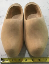 Vintage Hand Carved Dutch Holland Wooden Clogs Shoes Plain 9.5� Long