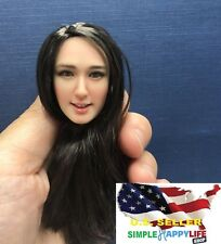 1/6 female head sculpt BLACK hair for 12'' PHICEN Figure Doll SDH007C ❶USA❶