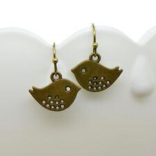 Bird Earrings, Antique Bronze Finish Vintage Style Charm Pendant Earring