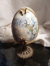 VINTAGE Embellished Egg-Flowers-Figurine-Gold & Silver trim - Unsure of metal