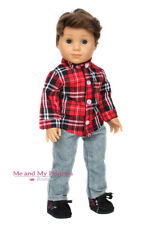 "PLAID SHIRT + DENIM JEANS + BOOTS Doll Clothes for 18"" American Boy logan Doll"
