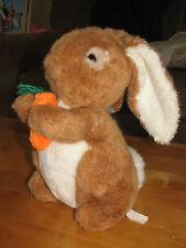 "Plush Brown White Bunny Rabbit Holding Carrot 12"" Floppy Ears Cotton Tail EASTER"