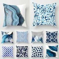 """18"""" Blue Abstraction Pattern Cushion Covers Pillow Cases Geometric Sofa Decor"""