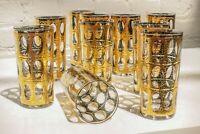 ✨ Culver Pisa Collins Glasses Gold Mid Century Modern - Set of 5 ✨