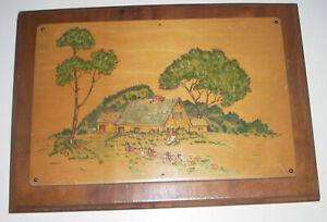 Beautiful Vintage Wooden Folk Art Landscape Plaque 1938 Wood Shop Project