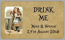 21 VINTAGE STYLE ALICE IN WONDERLAND DRINK ME LABELS PERSONALISED STICKERS/TAGS