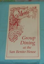 San Benito House restaurant catering hall menu flyer Half Moon Bay California