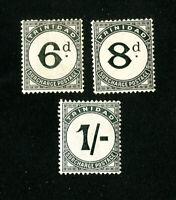 Trinidad Stamps # J6-8 VF OG LH Set of 3 Scott Value $217.00