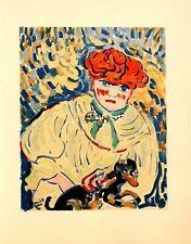 Maurice de Vlaminck Lithograph Limited Edition Woman With Dog Mourlot 1958 Rare