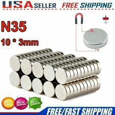New Listing10 100 Pcs Super Strong Round Disc 10 X 3mm Magnets Rare Earth Neodymium N35 Lot