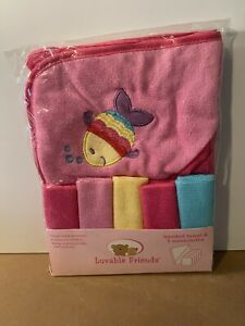 Baby Girl 6-piece Bath Set by Luvable Friends-1 Hooded Towel-5 Washcloths
