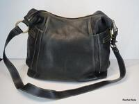 Fossil Handbag Purse Shoulder Bag Size L Black Pebbled Leather Convertible Zip
