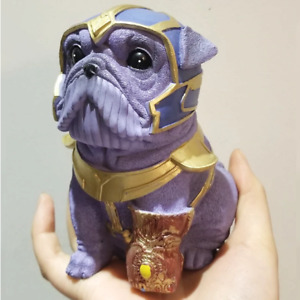 Cool Thanos Shaped Bulldog Figure  Funny Home Office Decoration Oraments Sculpt