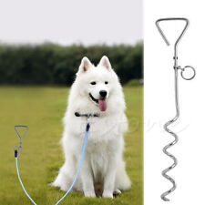 Dog Pet Metal Steel Spiral Stake Peg Tie In Out Garden Lead Anchor Secure Trendy