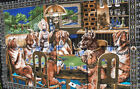 """Vintage A.T.C New York Dogs Playing Poker Cards Tapestry 56""""x40"""""""