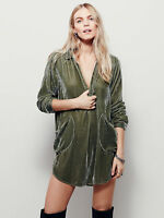 UK Women's V-Neck Faux Velvet Blend Casual Slim Fit Shirt Blouse Button Coat Top