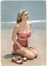 Original 1950s-60s Italian Semi Nude Pinup PC- Blond- Bikini- Headband- On Knees