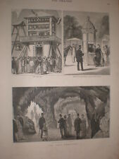 Paris Exhibition ticket booth aquarium and Carillons France 1878 old print