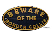 Border Collie Beware Of The Dog Sign - House Garden Sign Plaque - Black /Gold