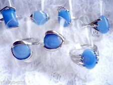 Naturstein Ring, Jade, blau silber, viele Varianten, Gr.16, 17, 18, 19, NEU