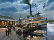 """Annapolis Landing"" Tom Freeman Naval Art - Steamboat Emma Giles 1920"