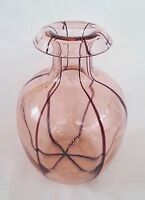 Vintage hand blown art glass pink vase 8.5 inches