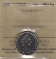 1965 Canada Five Cents (Nickel) Coin. ICCS MS-64