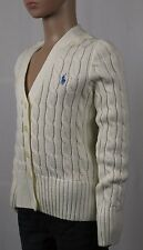 Children Ralph Lauren Cream Cardigan Sweater Blue Pony NWT