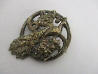 """VINTAGE STERLING SILVER CIRCLE BROOCH PIN with EXOTIC PEACOCK BIRD 2"""""""