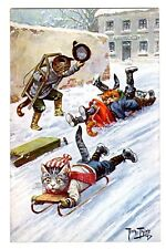 POSTCARD THIELE CATS SLEDDING IN STREET T.S.N. SERIES 1194