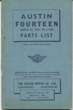 Austin Fourteen 14 FC FCA FR FRA original Parts List 1946 198 UNILLUSTRATED