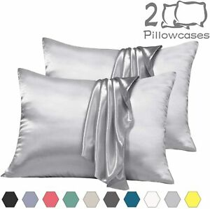 2PC Satin Pillowcase Queen zipper Non-slip Closure Pillow Covers Sleeping Hair