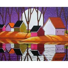 8x11 Archival Print LANDSCAPE Purple Moon Artwork FOLK ART GICLEE Artist Horvath