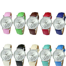 Fashion Womens Leather Who Cares I am Late Anyway Letter Sport Wrist Watch