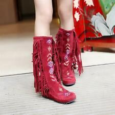 Vintage Women's Mid-Calf Boots Hidden Low Heels Faux Suede Print Tassel Shoes