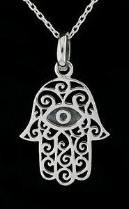 925 Sterling Silver Hamsa Hand Of Fatima Pendant Necklace Evil Eye Spiritual
