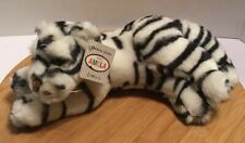 "Amela Original Plush Lying White Tiger Stuffed Animal 11"" Zoo Animal Realistic"