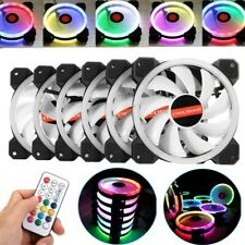 3-5 Pack RGB LED Quiet Computer Case PC Cooling Fan 120mm with 1 Remote Control