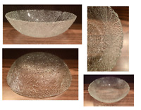 """Vintage Embossed Textured Clear Glass Serving Fruit Bowl 11.5"""" x 3"""""""