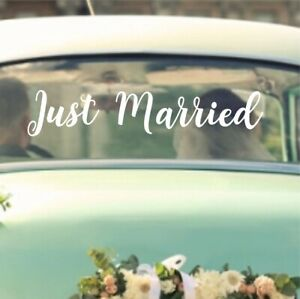 Just Married Wedding Sticker Decal | Removeable Car Vehicle Vinyl Bride WD2